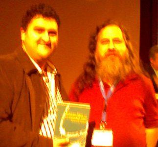 Miguel Angel Sillero y Richard Stallman